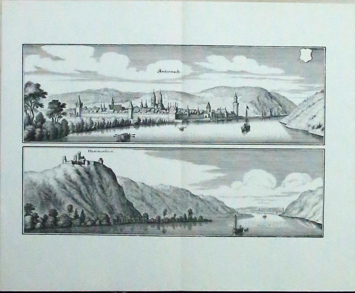 Auf einem Blatt: Andernach, Gesamtansicht mit Rheinufer;: Merian d. Ä.,