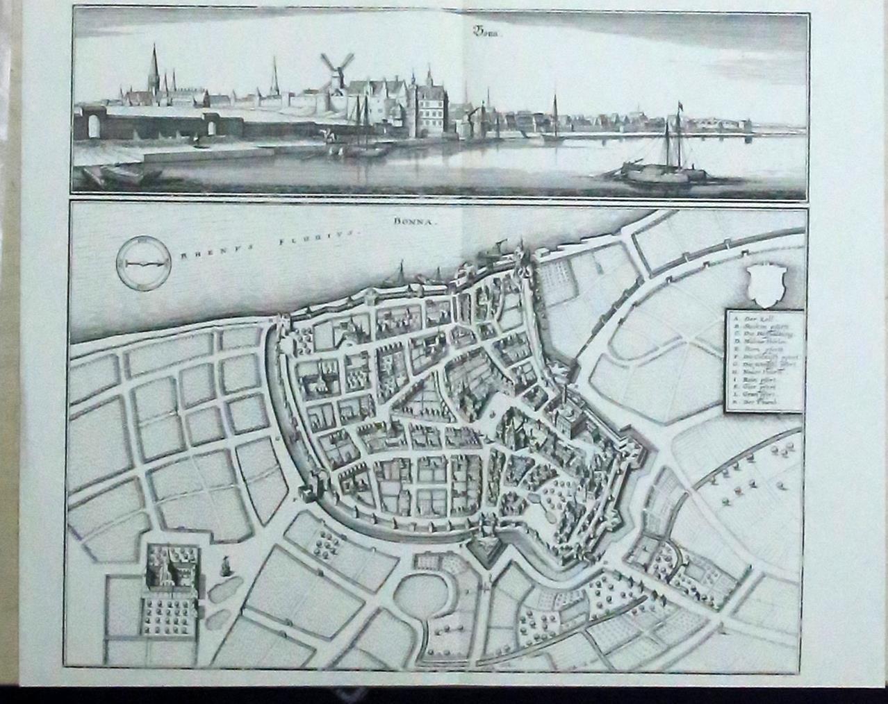 Bonn, Ansicht des Rheinufers und Vogelschauplan,REPRODUKTION auf: Merian d. Ä.,