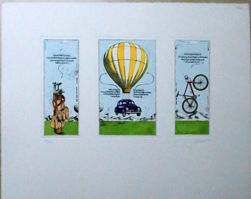 o. T.,drei Darstellungen zum Thema Mobilität,: unleserlich