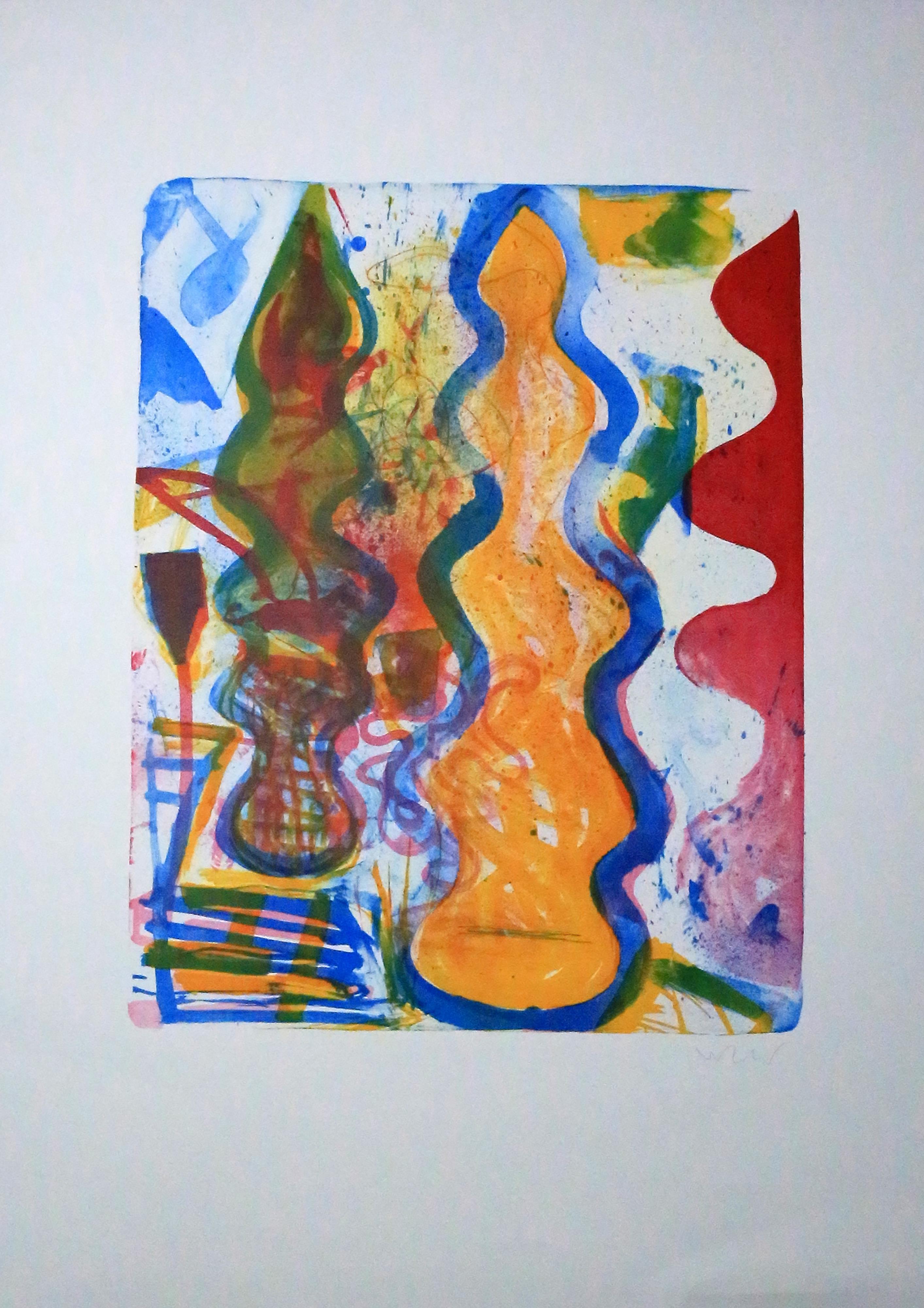 o. T., abstrakt,: unleserlich