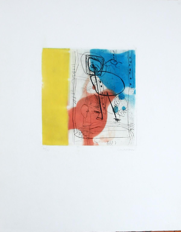 ohne Titel, 50/75 - kolorierte Radierung,: unleserlich