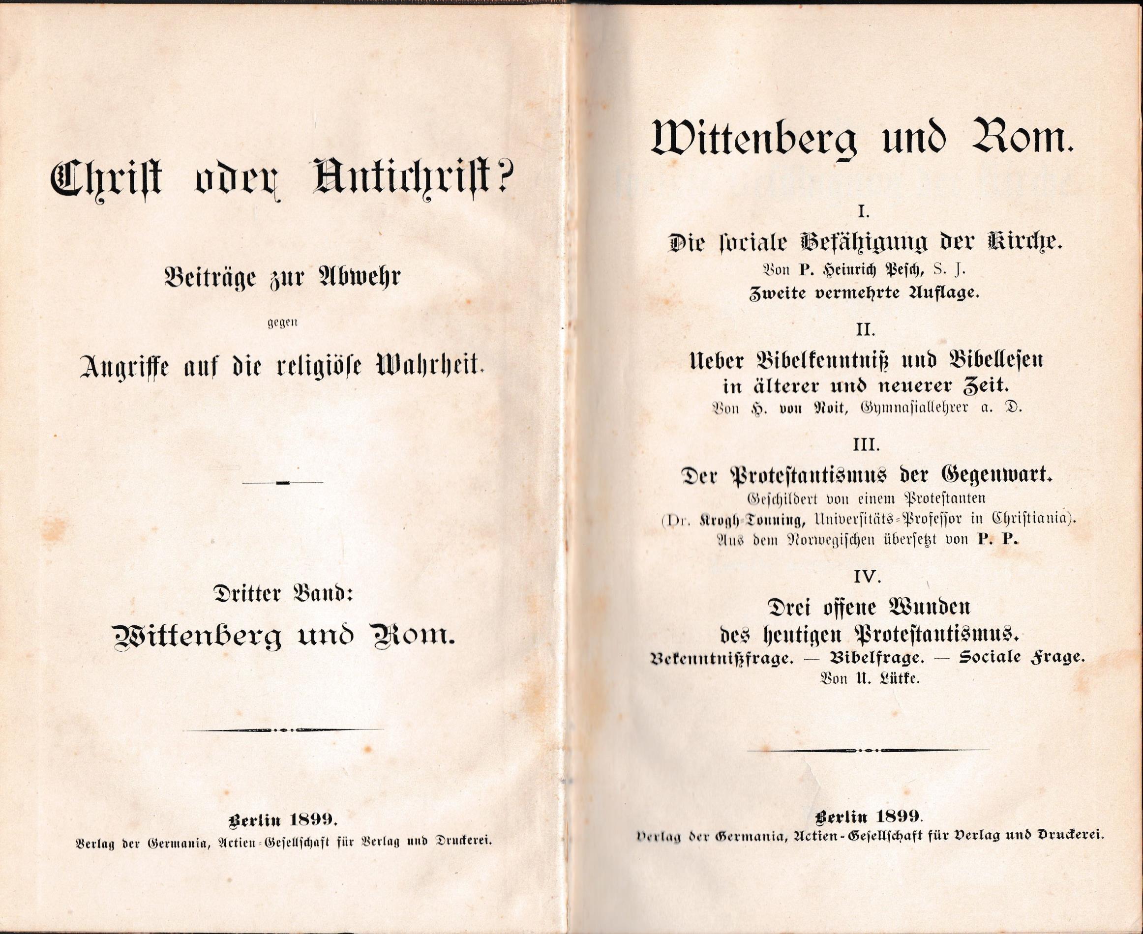 Wittenberg und Rom;(= Christ oder Antichrist? Beiträge: Gottlieb
