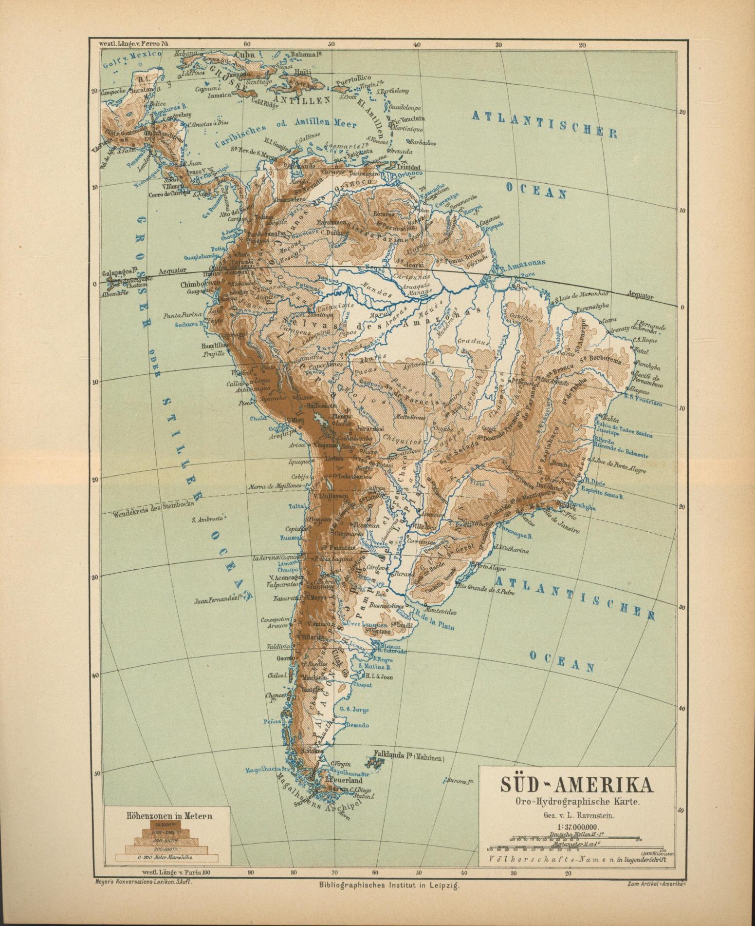 Süd-Amerika von 1874,Maßstab 1:37.000.000: Historische Landkarte KEIN