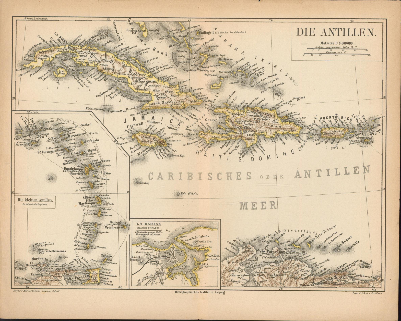 Die Antillen von 1874,Maßstab 1:8.000.000: Historische Landkarte KEIN