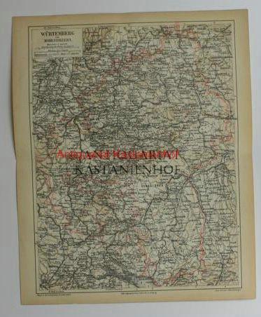 Würtemberg Hohenzollern von 1874,Maßstab 1:12.000.000: Historische Landkarte KEIN
