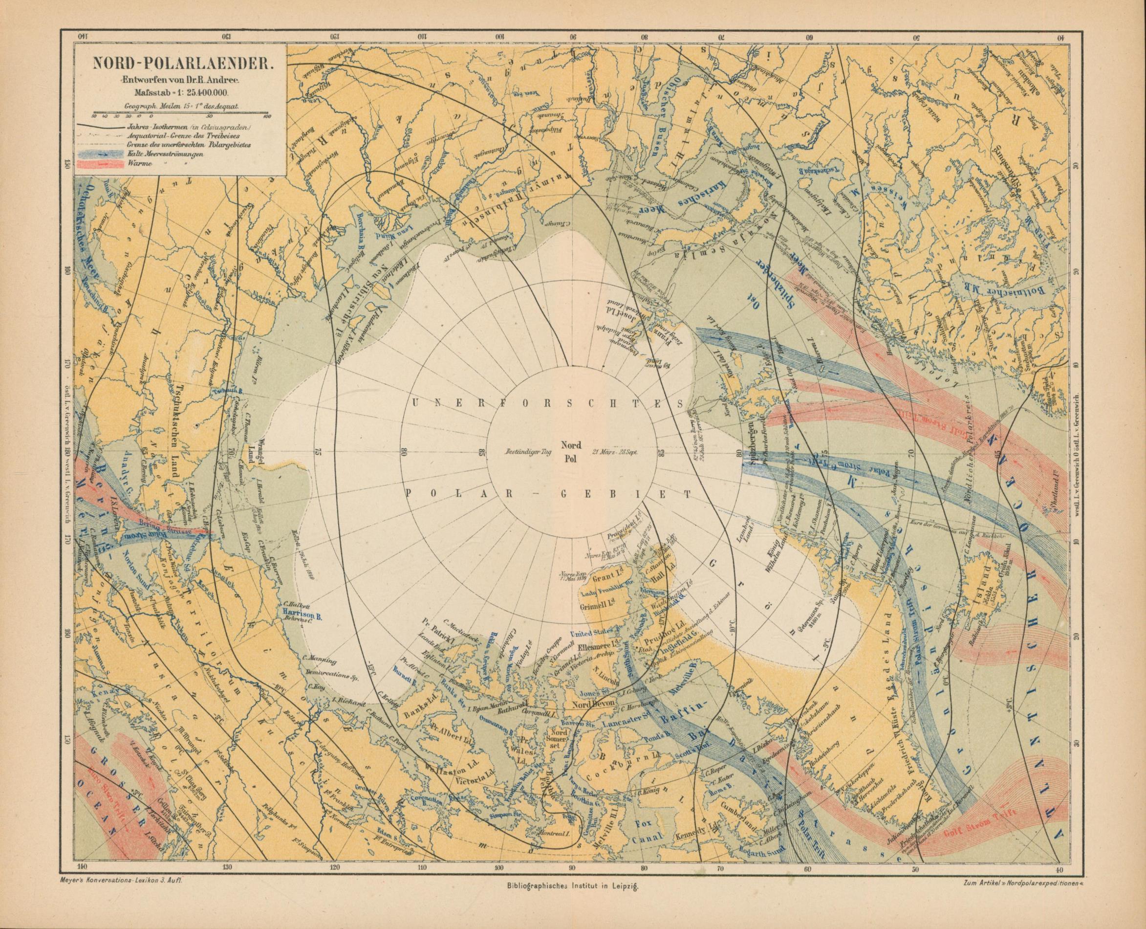 Nord-Polarlaender von 1874,Maßstab 1:25.400.000: Historische Landkarte KEIN