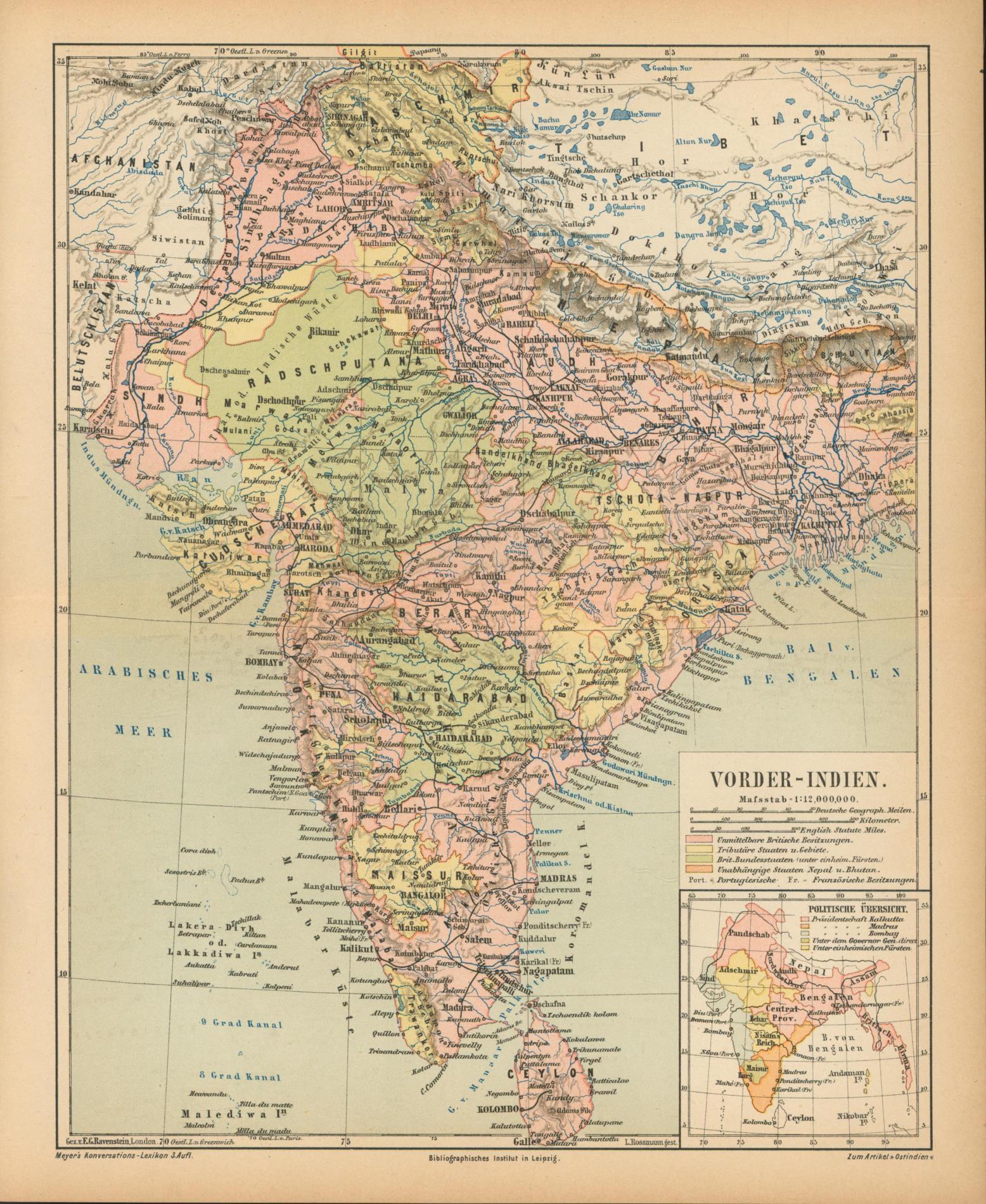 Vorder-Indien von 1874,Maßstab 1:12.000.000: Historische Landkarte KEIN