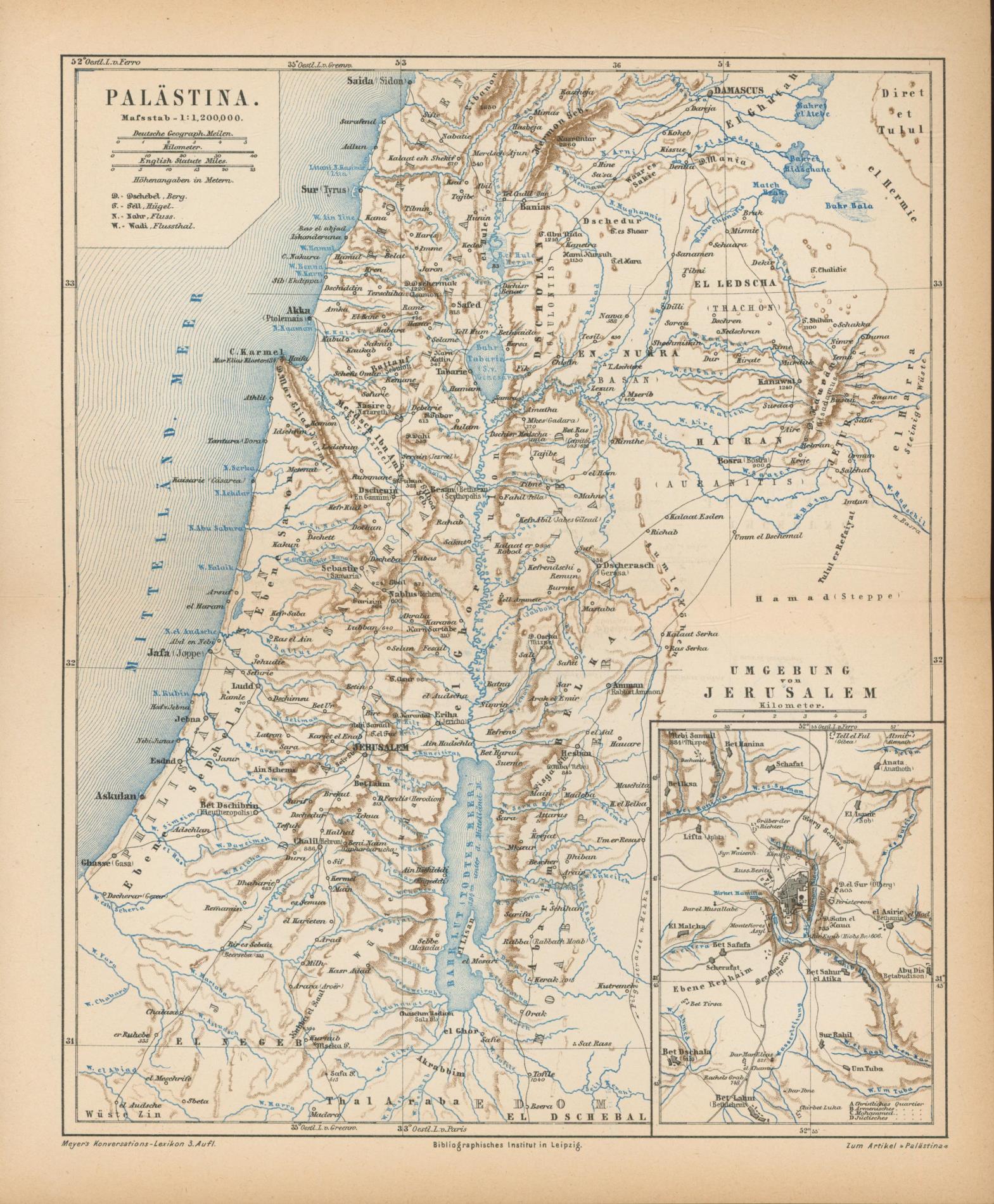 Palästina von 1874,Maßstab 1:1.200.000: Historische Landkarte KEIN