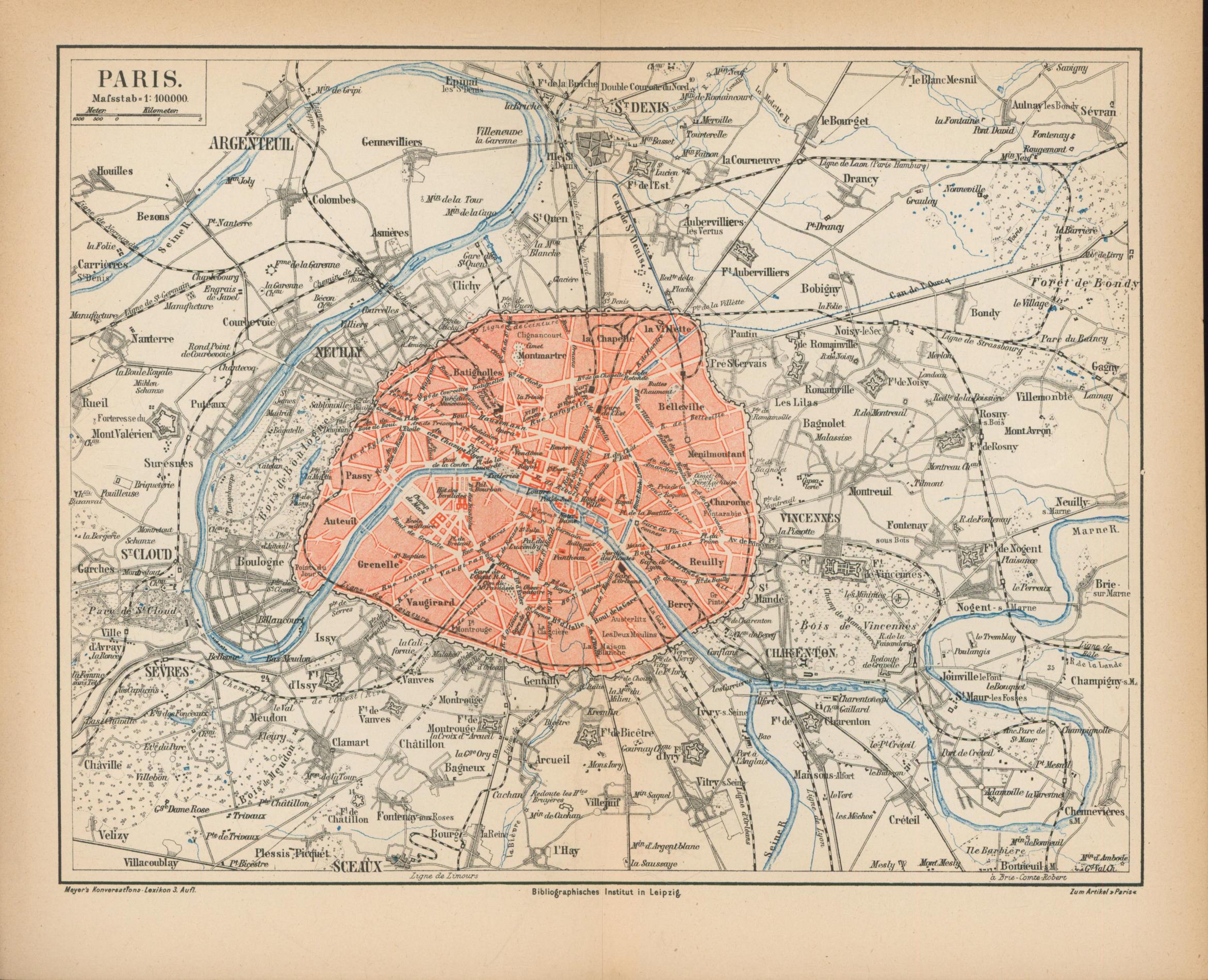 Paris von 1874,Maßstab 1:100.000: Historische Landkarte KEIN