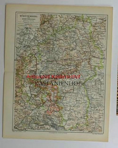 Württemberg Hohenzollern von 1897,Maßstab 1:850.000: Historische Landkarte KEIN