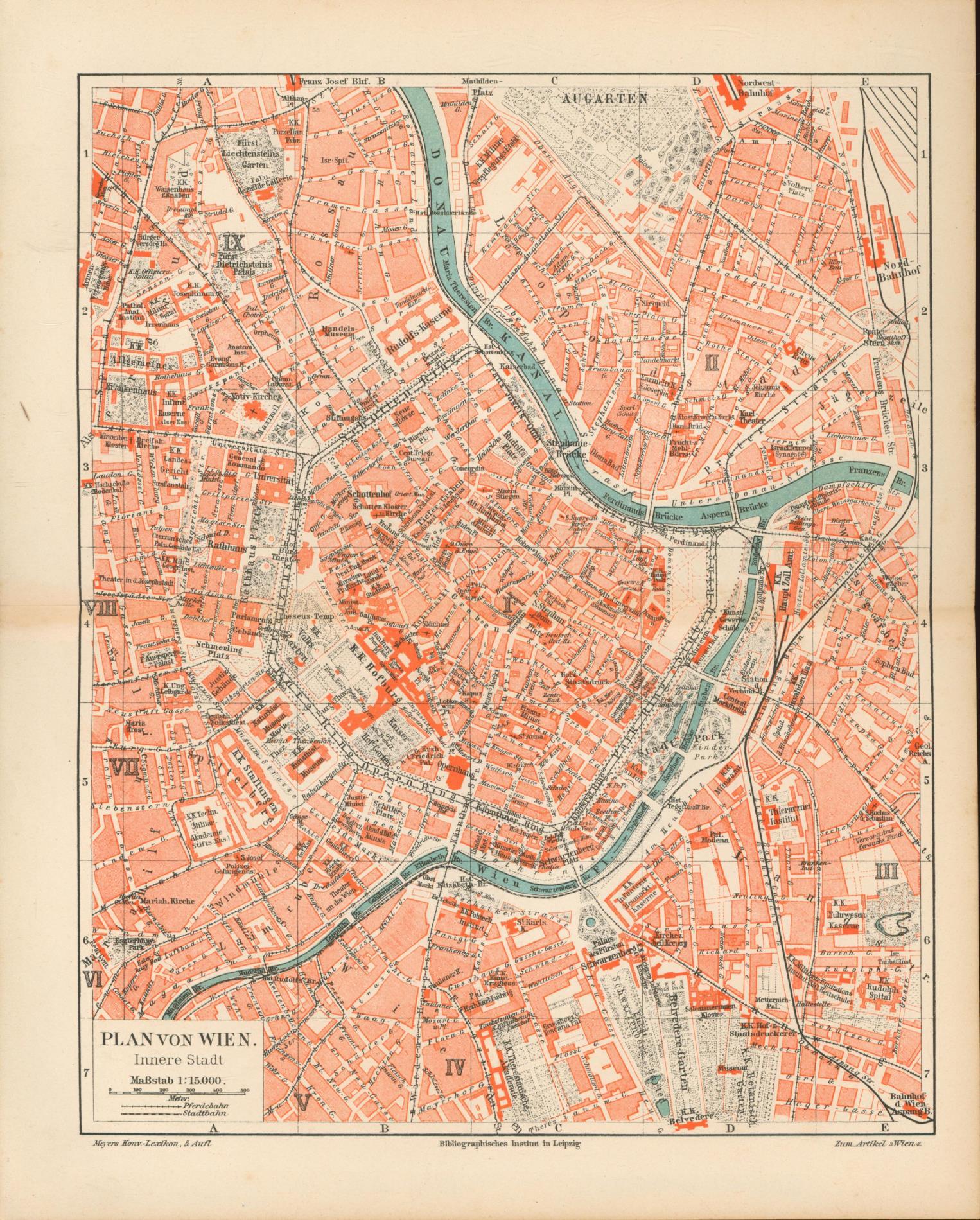 Plan von Wien von 1897 mit Namen-Register: Historische Landkarte KEIN