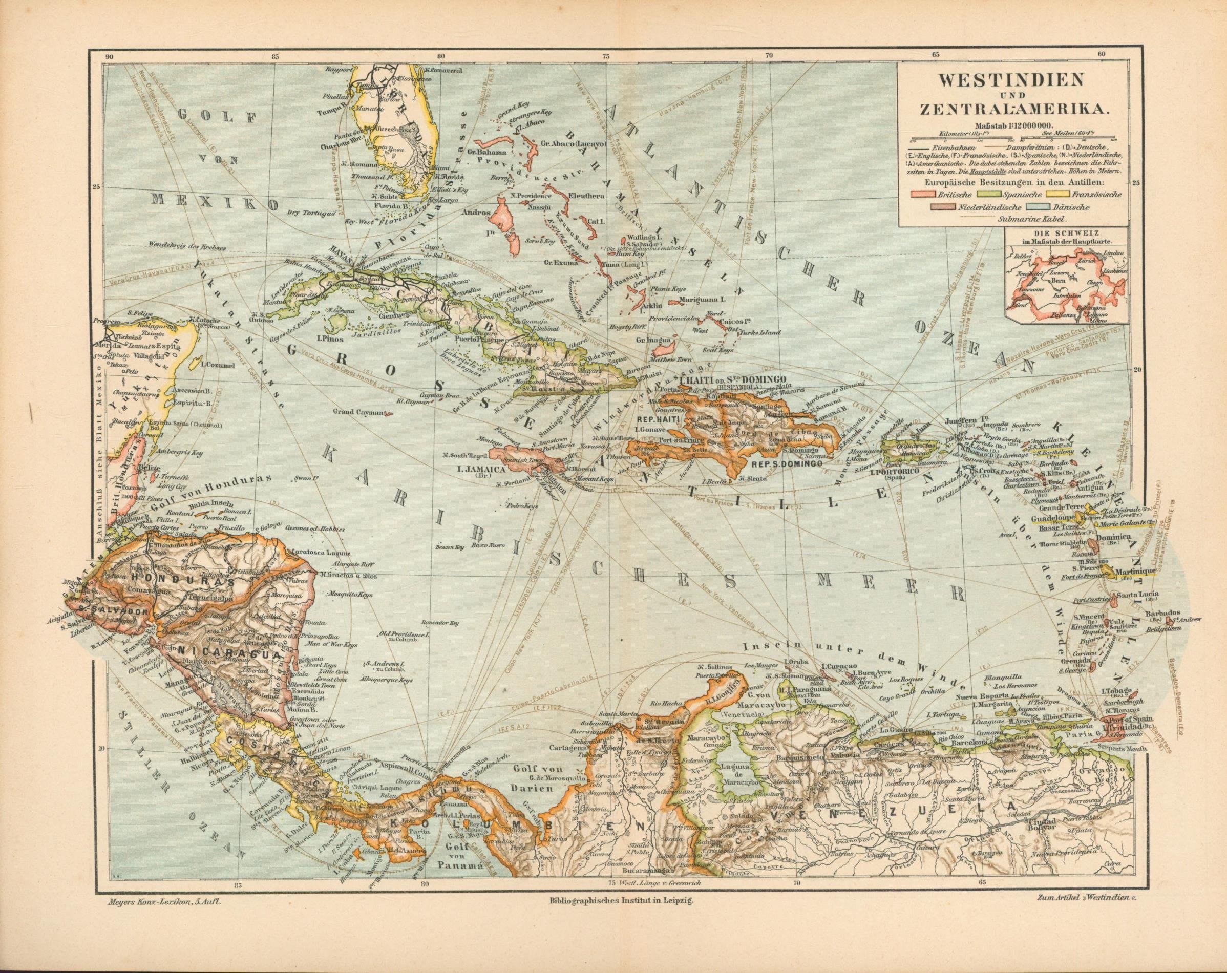 Westindien und Zentralamerika von 1897,Maßstab 1:12.000.000: Historische Landkarte KEIN