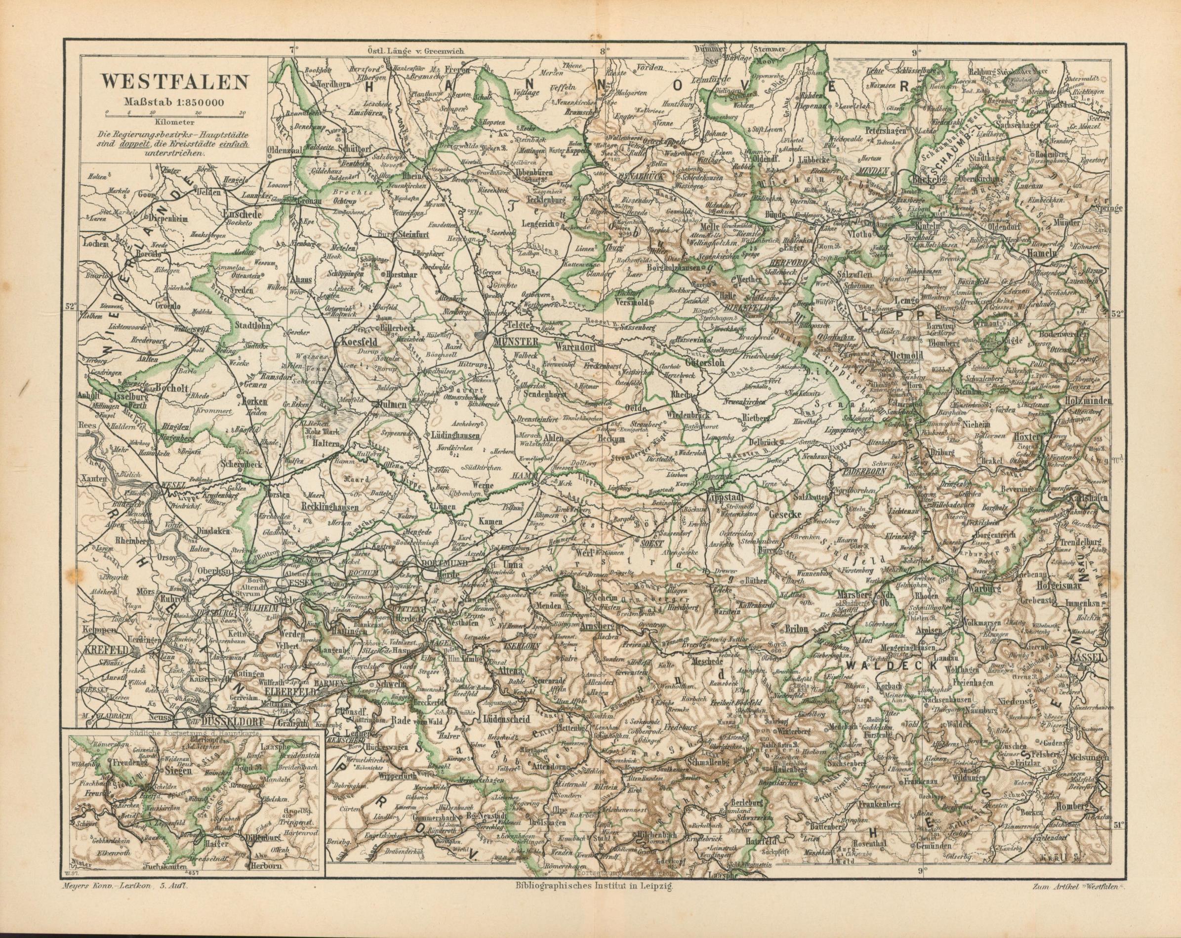 Westfalen von 1897,Maßstab 1:850.000: Historische Landkarte KEIN