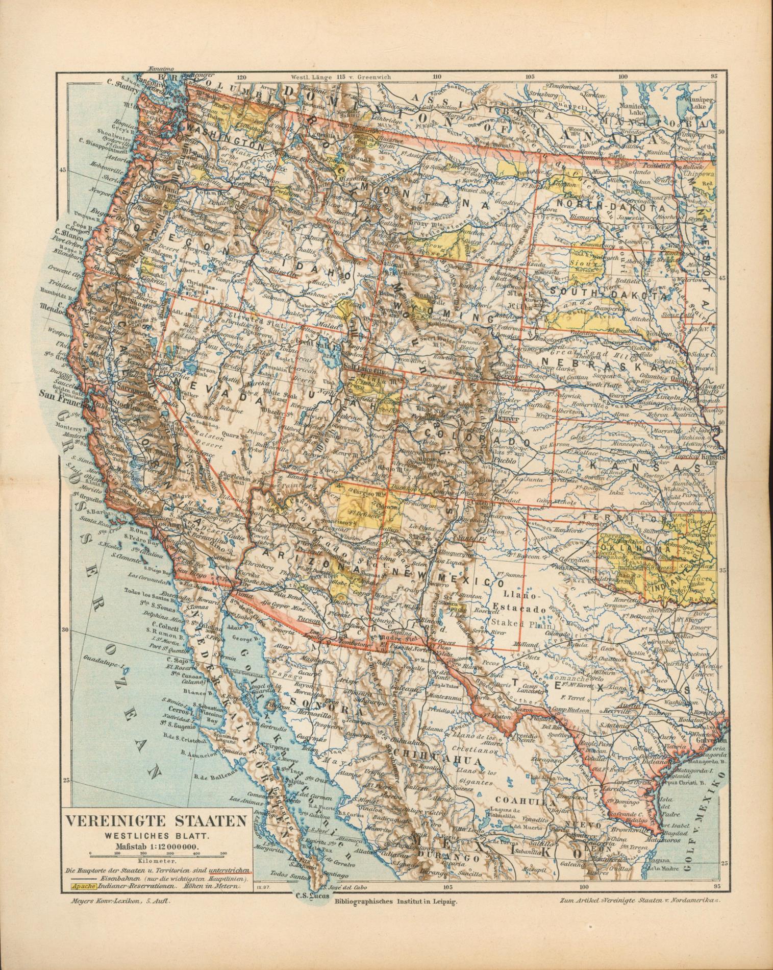 Vereinigte Staaten , westliches Blatt von 1897,Maßstab: Historische Landkarte KEIN