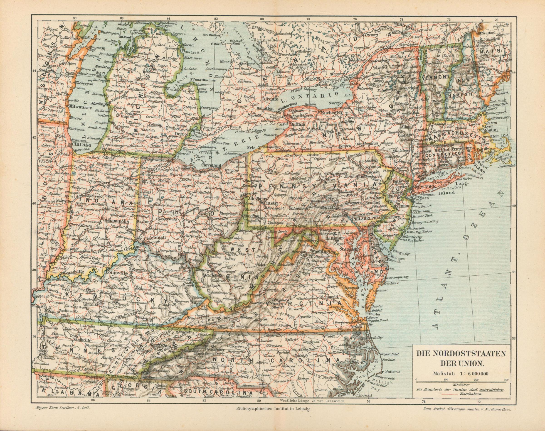Die Nordoststaaten der Union von 1897,Maßstab 1:6.000.000: Historische Landkarte KEIN