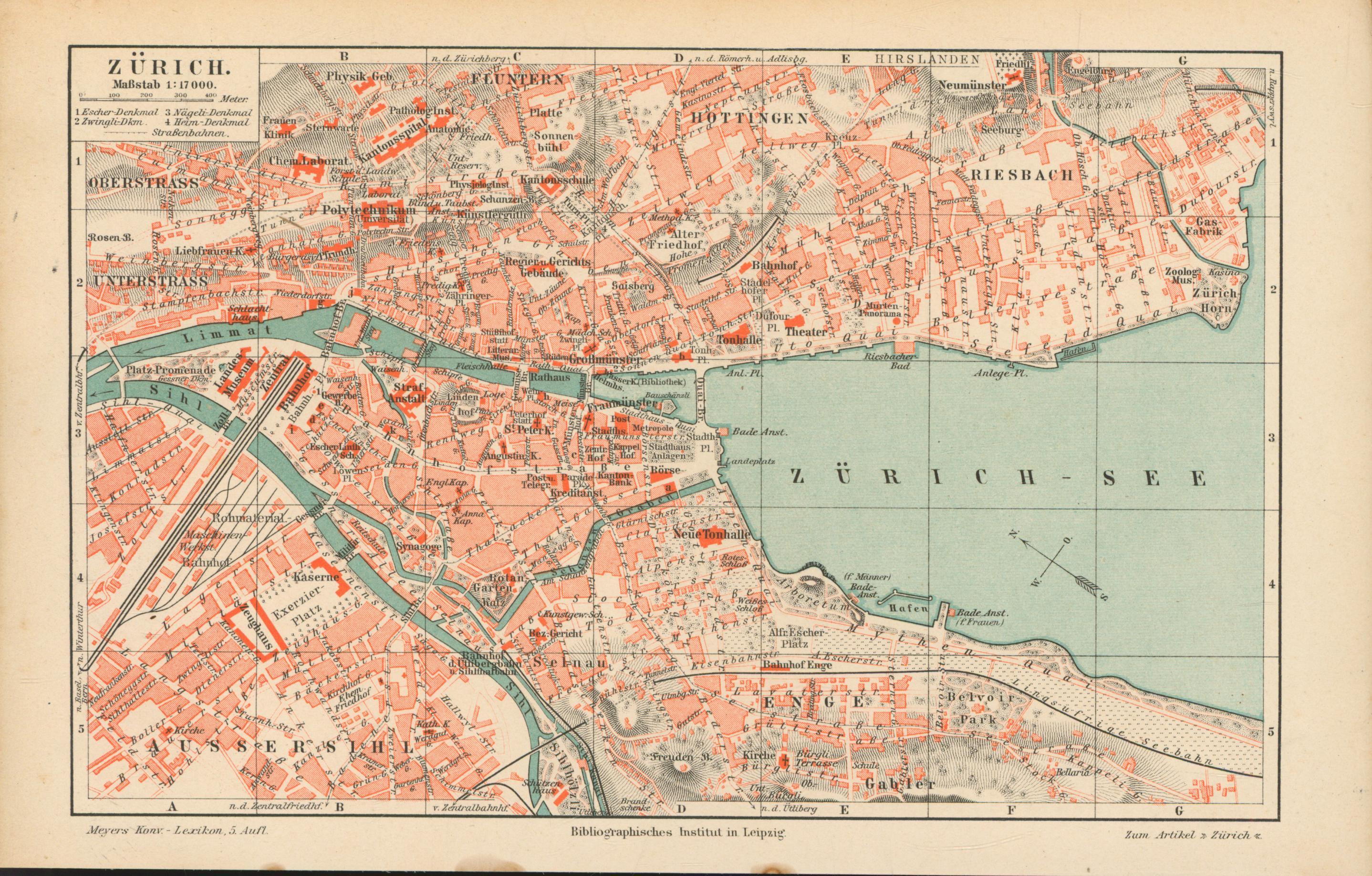 Zürich von 1897,Maßstab 1:17.000: Historische Landkarte KEIN