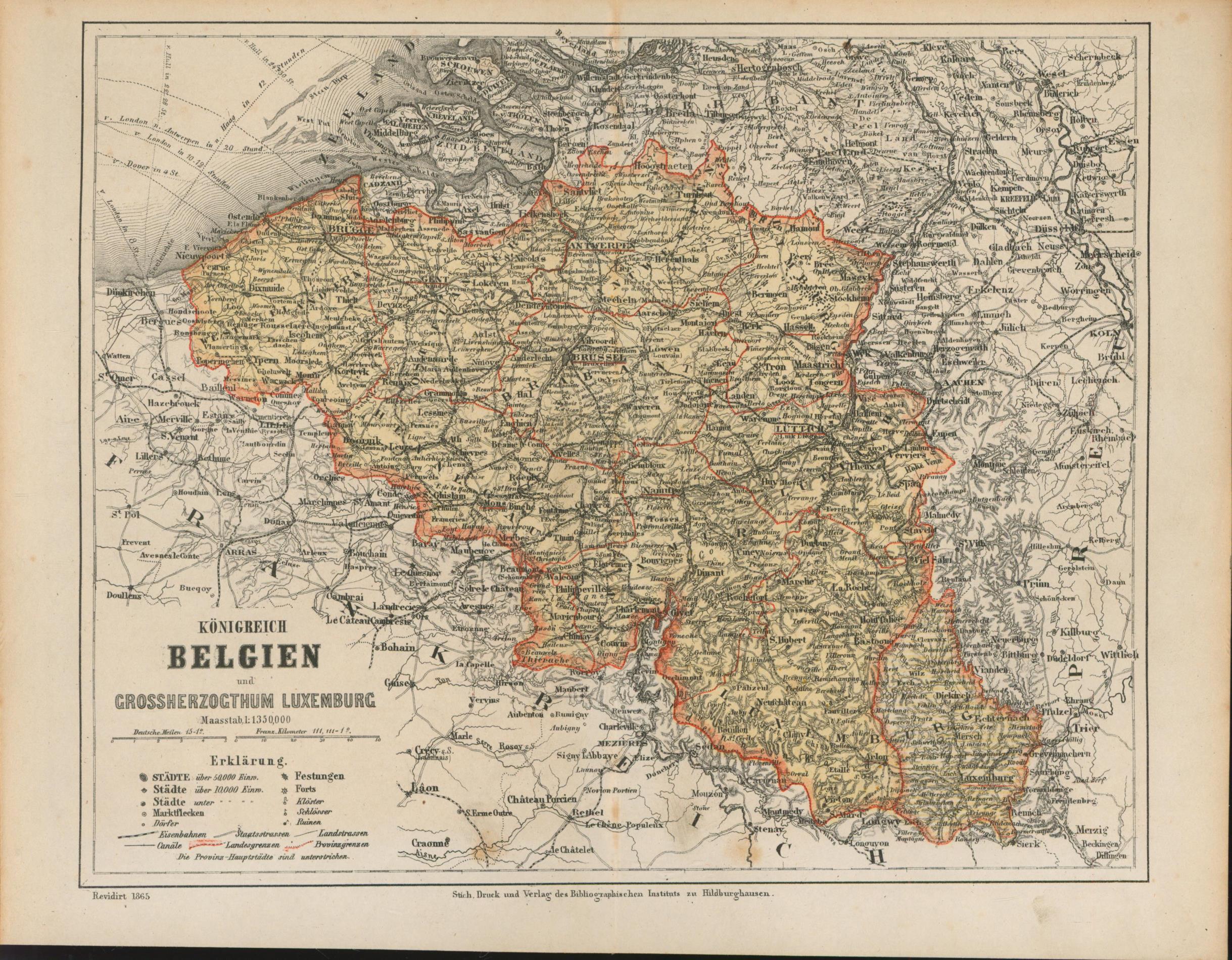 Königreich Belgien mit Grossherzogthum Luxemburg von 1865,Maßstab: Historische Landkarte KEIN