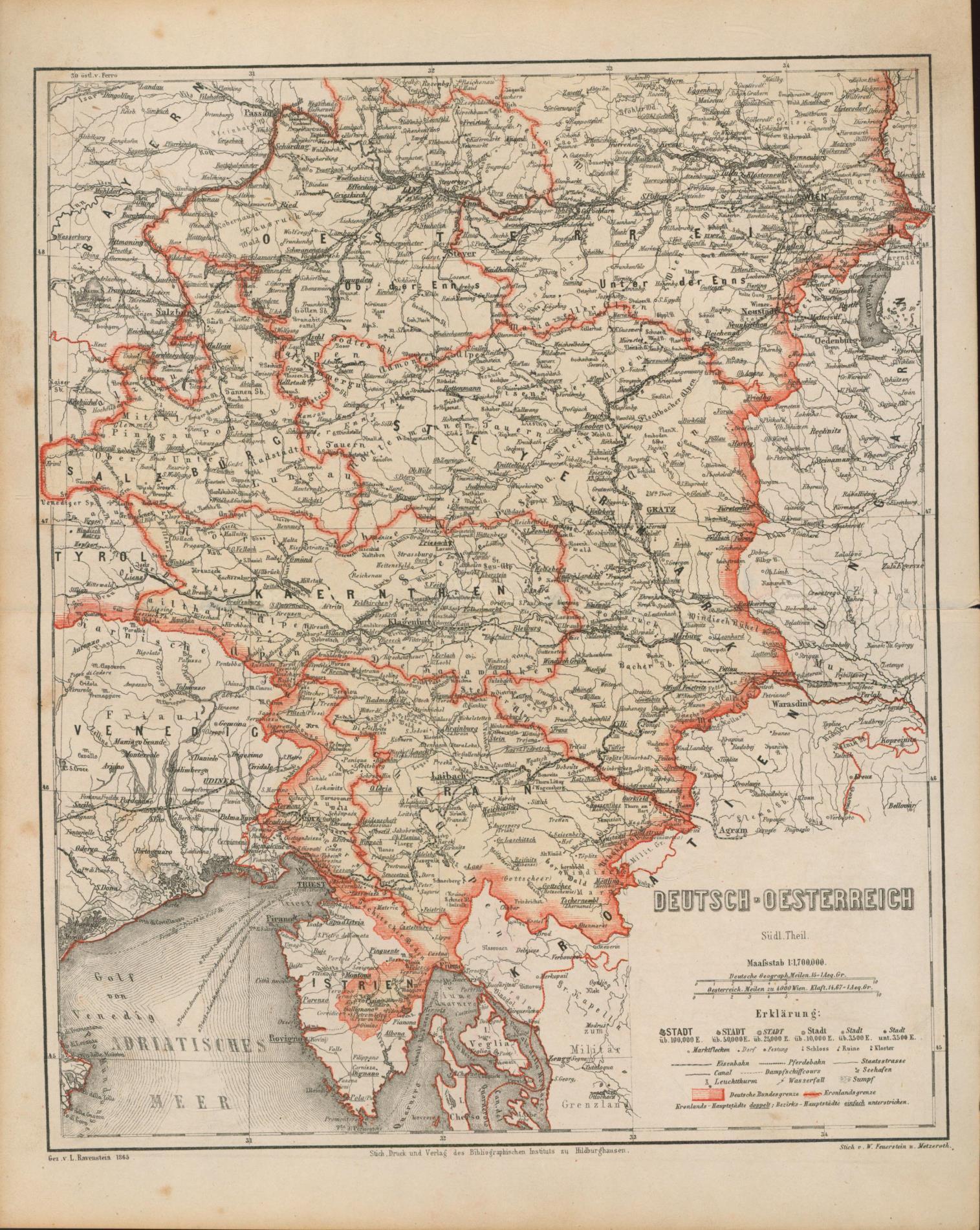 Deutsch - Oestereich Südl. Theil von 1865.: Historische Landkarte KEIN