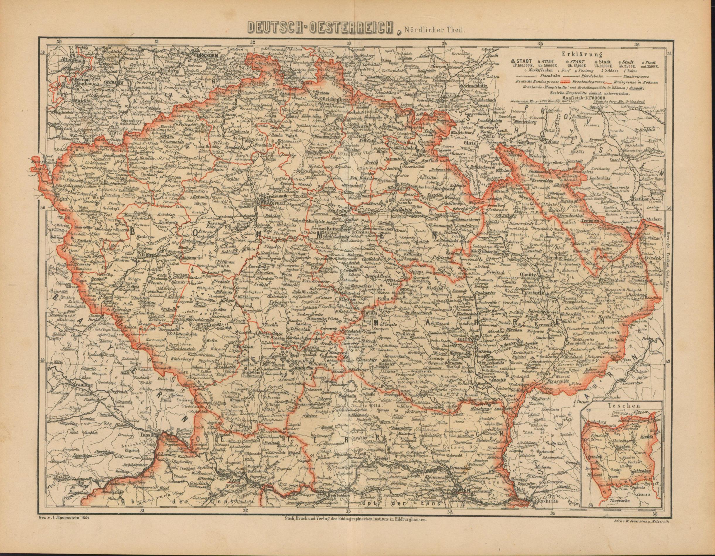Deutsch - Oestereich nördlicher Theil von 1864,Maßstab: Historische Landkarte KEIN