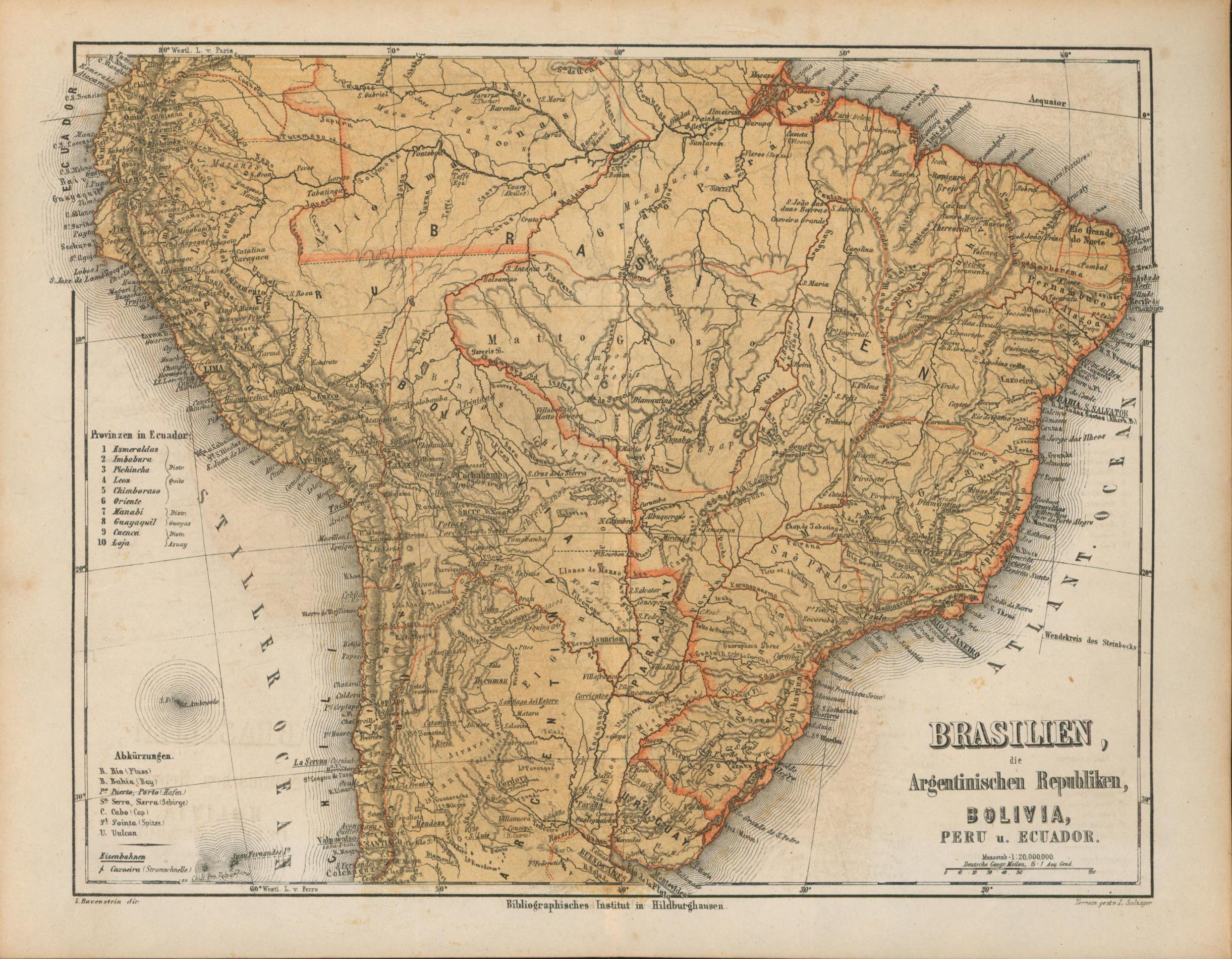 Brasilien, die Argentinischen Republiken, Bolivia, Peru u.: Historische Landkarte KEIN