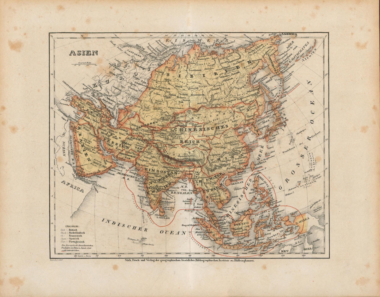 Asien von 1867: Historische Landkarte KEIN
