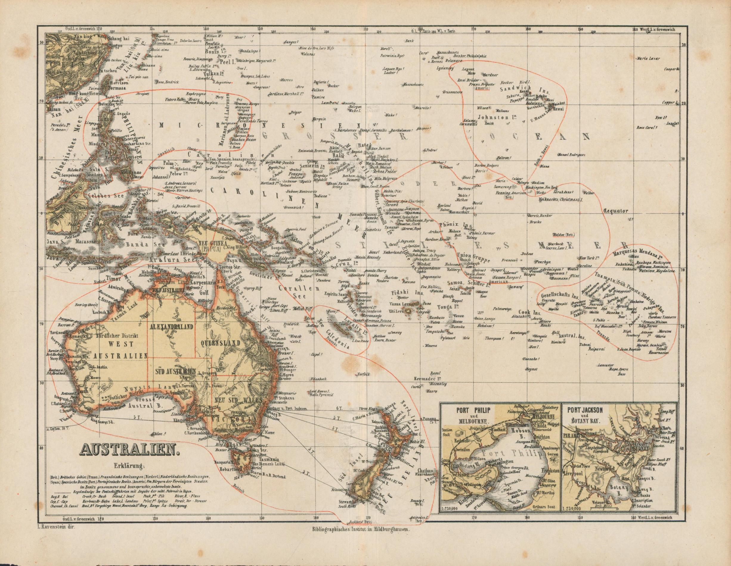 Australien von 1867,Mit Port Philip und Port: Historische Landkarte KEIN