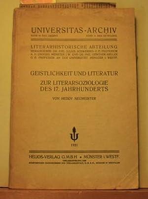 Geistlichkeit und Literatur : Zur Literarsoziologie des 17. Jahrhunderts,Band 51 des Archivs, Band ...