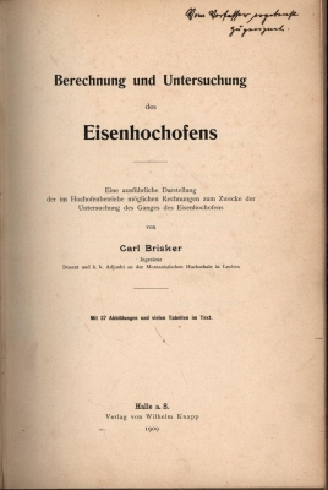 Berechnung und Untersuchung des Eisenhochofens. Eine ausführliche,Darstellung der im ...
