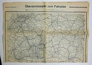 Übersichtskarte zum Fahrplan Südwestdeutschland,Deutsche Reichsbahn: Hrsg.