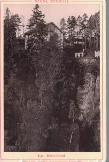 Kabinettfoto - Ansichtskarte Sächs. Schweiz 112. Basteihôtel ,Photographie auf Karton montiert,: ...