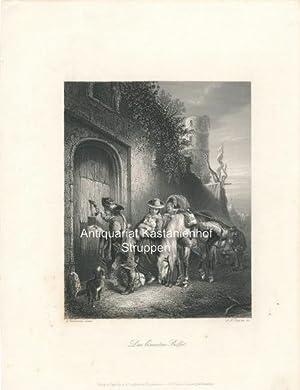 Originaler Stahlstich von Payne um 1850 Die Näherin