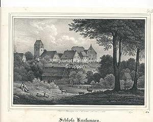 Schloß Kaufungen. - Original-Lithographie,unten links: IV. 1., unrten rechts: B. III.,,: Nach der ...