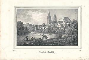 Schloss Rochlitz. - Original-Lithographie,unten links: II. 17., unrten rechts: B. II.,,