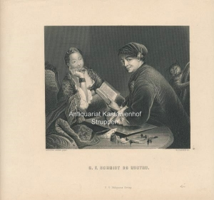 G. F. Schmidt og hustru. - Original-Stahlstich,: Antoine Pesne pinx.t/W. French sc.