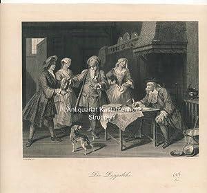 Die Doppelehe. - Original-Stahlstich,: Lancret p.t/W. French sc.