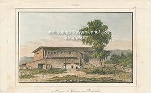 Maison de Gustave en Dalicarlie. - kolorierter Original-Stahlstich,oben mittig: Suède; oben rechts:...