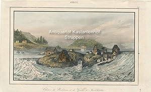 Chûtes de Nolstrom et de Gullo à Trollhata. - kolorierter Original-Stahlstich,oben mittig: Suède; ...