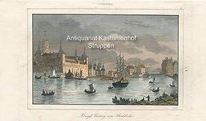 Königl. Vestung von Stockholm. - kolorierter Original-Stahlstich,oben mittig: Schweden; oben rechts...