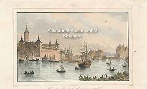 Forteresse Royale de Stockholm au 17.e S. - kolorierter Original-Stahlstich,oben mittig: Suède; ...