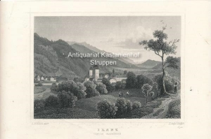 Ilanz. Canton Graubünden - Original-Stahlstich: L. Rohbock del.t/L. Oeder sculp.t