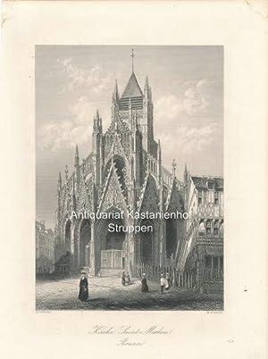 Kirche Saint-Maclou. Rouen. - Original- Stahlstich,,,: Asselineau/W. French