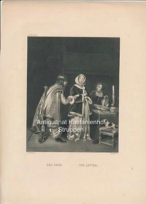 Der Brief. The Letter. - Original-Stahlstich,oben links: Pinakothek: G. Terburg p.t/Walther sc.