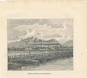 Coblence (Forteresse de Ehrenbreitstein). - Holzstich,unten links: L'Allemagne illustrée. 18.; ...