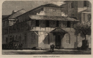 Office of the Telegraph Company at Bombay. - Holzstich,aus: The Illustrated London News, April 9, ...