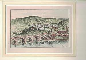 Heidelberg. Lithographie, koloriert,