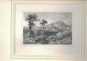 Coburg. Total-Ansicht. - Original-Stahlstich.: L. Rohbock del.t/Joh. Poppel sculp.t