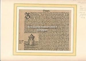 """Bingen. Der Meußthurn im Rhein. - Original-Holzschnitt,aus: """"Die Cosmographie von Sebastian ..."""
