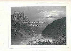 Lurley-Klippan - Original-Lithographie,oben mittig: Rhenströmmen; oben rechts: 13.: C.J. Billmark ...