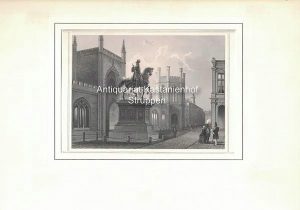 s Gravenhage. Ruiter-Standbeeld van Willem. - Original-Stahlstich.,: L. Rohbock del.t / Joh. Poppel...