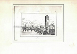 Trient. - Original-Radierung.,oben mittig: Italien.; oben rechts: 57.